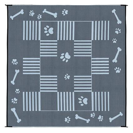 Reversible Dog Paw Bone Mat, Black/White, 9 x 9