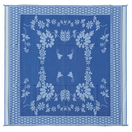 Reversible Floral Mat, Blue/White, 9 x 12