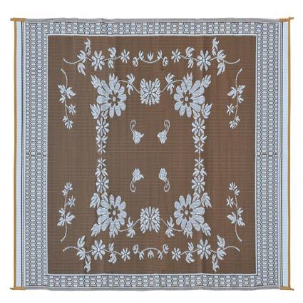 Patio Mat, Polypropylene, Floral Design, 9 x 12, Brown/White