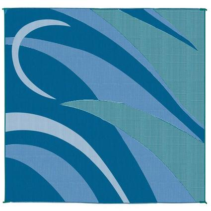 Reversible Graphic Patio Mat, Blue/Green, 8 x 16