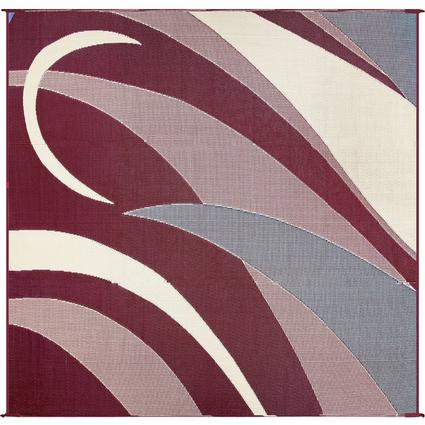 Reversible Graphic Patio Mat, Burgundy/Black, 8 x 16