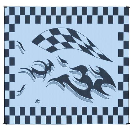 Reversible Checkered Mat, Black/Flag, 8 x 16