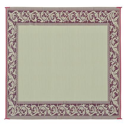 Patio Mat, Polypropylene, Classical Design, 9 x 12, Burgundy/Beige
