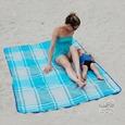 Sand Free Rug, Blue Plaid - 51 x 66