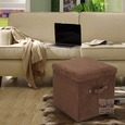Folding Storage Ottoman - Microsuede, Brown
